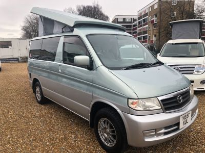 Mazda Bongo 2.5 Mistral Camper Rear kitchen Motorhome Petrol Light Metallic Green Over SilverMazda Bongo 2.5 Mistral Camper Rear kitchen Motorhome Petrol Light Metallic Green Over Silver at Camper Van Centre Southampton
