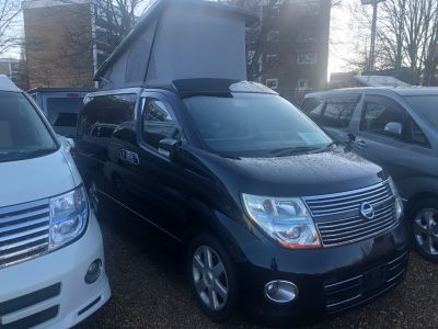 Nissan Elgrand 2.5 Highway Star Mistral Camper 4 berth 4x4 Motorhome Petrol Pearlescent BlackNissan Elgrand 2.5 Highway Star Mistral Camper 4 berth 4x4 Motorhome Petrol Pearlescent Black at Camper Van Centre Southampton